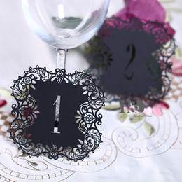 Wholesale Vintage Table Numbers - Wholesale- 10pcs set Black Hollow Lace Table Number Table Cards from 1 to 10 Rustic Wedding Centerpieces Decor Vintage Wedding Decoration
