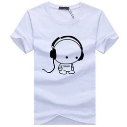 Wholesale Xl Dog Clothes - Music Dog Printing Men's T-shirt Summer O Neck Short Sleeves Latest Fashion Cotton 8 Color T-Shirt Plus Size S-5XL Casual Clothing