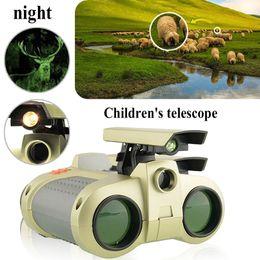 Wholesale 4x30 niños Binoculares Visión Nocturna Telescopio Luz emergente Visión Nocturna Alcance Prismáticos Novedad para más de años de edad Kid Boy Juguetes Regalos