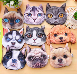 2019 borse all'ingrosso delle bambine Cartoon 3D Cats Cani Bambini Peluche Portamonete Zip Portamonete Portafogli Bambini Ragazza Donna Per Regalo