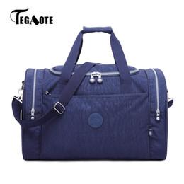 2019 большие сумки для багажа нейлон TEGAOTE Large Capacity Travel Bags Women Duffle Bag Nylon Waterproof Packing Travel Handbag Big Weekend Luggage Tote дешево большие сумки для багажа нейлон