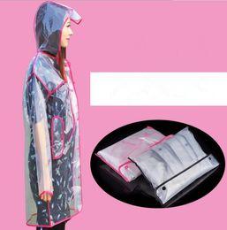 Wholesale plastic jackets - Raincoat Transparent Hoodie Clear Rainwear Waterproof Rain Coat Plastic Runway Style Rain Jacket Camping Rain Poncho EEA443 30pcs