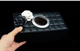 Wholesale Tissue Box Holder Organizer - black custom logo Tissue Paper Boxes Leather Pu Facial Napkin Cover Organizer Office Car Household Toilet Paper Holder Container Tissue Box