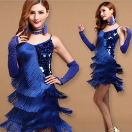Wholesale Latin Salsa Dance Skirts - Elegant Sexy Unequal Women Girls Sequin Fringe Tassel Skirt Ladies Latin Tango Ballroom Salsa Dance Dress