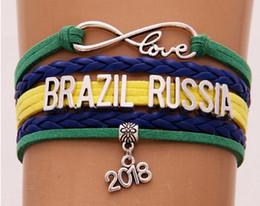 Brazil bracelets en Ligne-Infinity Love bracelet Brésil Pérou Russie 2018 coupe du monde bijoux En Cuir Drapeau National femmes hommes Bracelets cadeau Pour Les Fans De Football