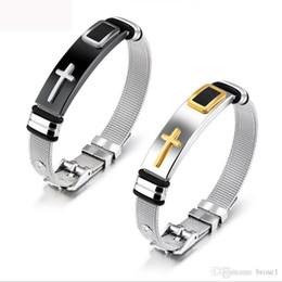 Pulseira de malha de aço por atacado de jóias com pulseira de ouro cruz titanium aço dos homens pulseira ajustável frete grátis de Fornecedores de braceletes de pele de cobra atacado
