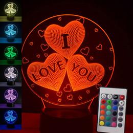 Lampe LED 3D Night Light Luminaria Lampe de table USB Touch I Love You 7 Couleurs ? partir de fabricateur