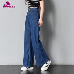 le donne blu chiaro allentano i jeans Sconti Jeans a gamba larga vintage grande Pockrt lavato pantaloni a vita alta in denim a vita 2018 Jeans lunghi per donna Pantalon Femme luce blu scuro