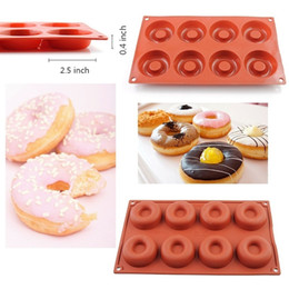 Wholesale Donut Cake - 8 Cavity Silicone Donut Mould Baking Cake Chocolate Muffins Candy Jelly Mold Mould Tray