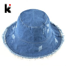 Summer Washed Denim Sun Hat Women Fashion Tassel Floppy Cap Ladies Wide  Brim Beach Bucket Hats Female Cotton foldable Chapeu 0b7cd5840803