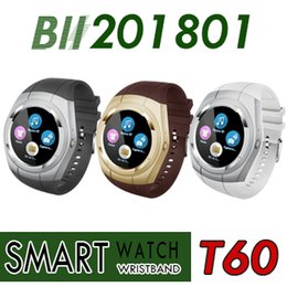 Wholesale Pedometer Radio - Smart Watch T60 Phone Bluetooth Smartwatch Waterproof Automatic Voice Dial SIM TF FM Radio Music Pedometer Camera For Android IOS PK A1 DZ09