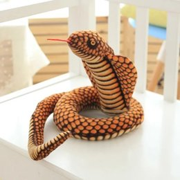 Wholesale Plush Snakes - Cobra Plush Toy Elapid Snake Stuffed Soft Toy 39in. Realistic Snack Boa Doll for Home Sofa Decoration Kids Birthday Gift