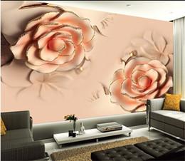 2019 3d rosa flor pano de fundo Personalizado foto 3d papel de parede 3D estereoscópico Romântico Rosa Rosa Flor sala de casamento TV pano de fundo moderna sala 3d papel de parede 3d rosa flor pano de fundo barato
