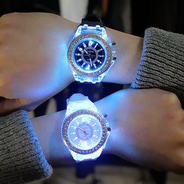 Wholesale Geneva Watches Red - Luminous diamond 7 color led usa fashion trend of male and female students couple jelly Geneva watch Transparent Case Silica gel watches
