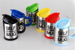 Wholesale automatic milk - 2018 Automatic Electric Self Stirring Mug Cups Coffee Milk Drinks mixing Stainless Steel Cup 400ml slef-stir Mixs Coffee Mugs