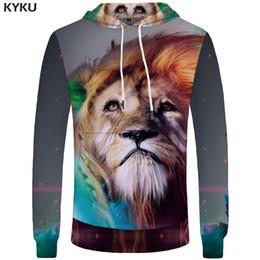 Couleur de la poche galaxie en Ligne-KYKU Marque Lion Hoodies Hommes Galaxy Hommes Vêtements Sweat-shirts Couleur Sweat-shirt Hoddie Pocket 3d Hoodies Survêtement Funny Casual