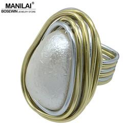 Wholesale Handmade Pearl Rings - whole saleMANILAI Layered Wire Spiral Bezel Setting Geometric Simulated Pearl Rings Women Fashion Jewelry Finger Handmade Statement Rings