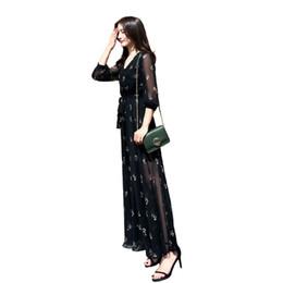 Vestido retro preto 2018 vestido de primavera nova moda feminina versão coreana temperamento magro chiffon vestido floral mulheres verão de