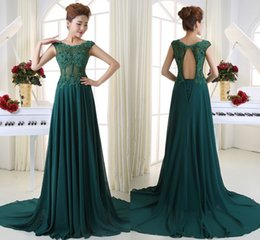 Wholesale Silver Dress Small Train - New High Quality Free Shipping Green Lace Applique Word Shoulder Bridesmaid Dresses Long Tail Back Small Hollow Bandage Evening Dresses HY11