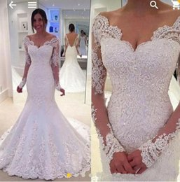 Wholesale Party Castles - 2018 Country Wedding Dresses Off the Shoulder Long Sleeves Mermaid Backless Bridal Gowns Lace Appliques Wedding Party Occasion