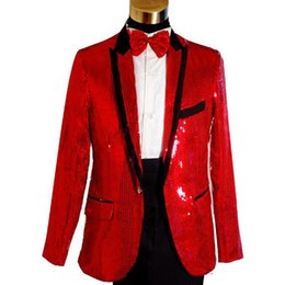 Wholesale Sequin Tuxedo Jacket Men - Red Sequin Dinner Prom Party Men Suits for Wedding Wear Two Piece Peaked Lapel One Button Groomsmen Tuxedos Jacket Black Pants