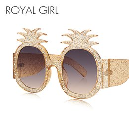 Wholesale Summer Shades - ROYAL GIRL Pineapple Frame Shiny Rhinestones Sunglasses Women 2018 Summer Style Crystal Decoration Oversized Female Shades ss305