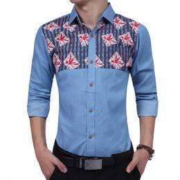 Hemden Marke 2017 Mode Männlichen Shirt Mit Langen Ärmeln Tops Einfache Geometrie Druck Shirt Herren Hemden Slim Männer Hemd Xxxl