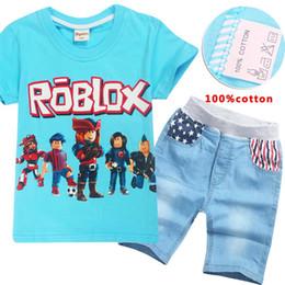 Pamuk! 6-14 yaşında 2018 erkek yaz elbise kot set Roblox çocuk takım elbise Moda T-Shirt V 001 nereden