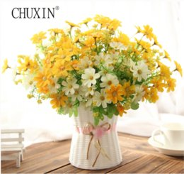 Wholesale Yellow Flower Types - One set Samll daisy artificial flower silk sunflower with rattan vase decoration for home room table 13 Type