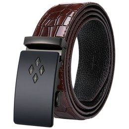 c9d2a51458b Luxury Cowhide Genuine Men s Leather Belt with Automatic Buckle Ratchet Belt  Strap Black Leather Belt 2018 new arrival DK-2028 inexpensive gucci belt