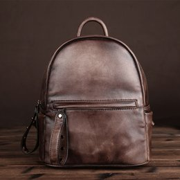 Wholesale Vintage Satchel Bags For Men - Brand New Backpack Hot Sale Fashion Leather Shoulder Bag High Quality Brown Shoulder Bag Large-Capacity Leather Vintage Backpack for Lady