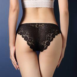 2019 bonnets en coton noir pour femme Sexy Dentelle Culotte Femmes Sous-Vêtements Sexy Dentelle Transparent Taille Basse Creux T Retour Culotte Dame Mémoires