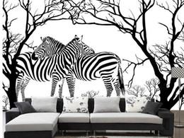 Abstrato de árvores on-line-Arte moderna em preto e branco em relevo árvore abstrata zebra sala de estar sofá parede do fundo