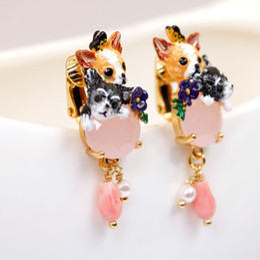 Wholesale Gem Animals - Paris Les Nereides Dog Dangle Earrings For Lady Gold Plated Enamel Earring France Romantic Gems Ear Stud Luxury Jewelries Wholesale