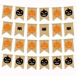 Lino Halloween Banner Zucca pipistrello Arancione Nero Banner Decorazione ghirlanda per Halloween Party Club Festival Decorazione forniture da bandiera della zucca fornitori