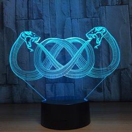usb привел змеиный свет Скидка Змеи 3D LED Оптическая Иллюзия Лампа Night Light DC 5 В USB Зарядка 5-й Батареи Оптовая Dropshipp Бесплатная Доставка