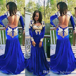 Wholesale velvet blue girl dresses - 2K17 Royal Blue Sexy Open Back Mermaid Prom Dresses Black Girls Long Sleeves High Neck Velvet with Gold Appliques Long Evening Party Gowns
