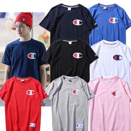 Wholesale Men S Big Collar Shirts - Seiko embroidery big logo round collar short sleeves cotton short sleeve Short sleeved T shirts Skateboard neck summer Classic box logo Casu