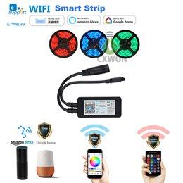 Wholesale rgb strip light wifi - Smart wifi led strip lights flexible RGB working with Alexa Google home for house party holiday decoration wireless
