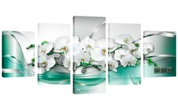 Wholesale Orchid Paintings Canvas - 5 Panels HD Butterfly Orchid Flower Canvas Print Wall Art Painting for Home Decoration Modern Wall Picture for Bedroom Framed Ready to Hang