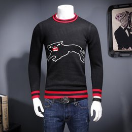Wholesale Korean Sweater Warm - Autumn and winter new men thick warm round neck personalized cartoon sweater tide Korean Slim sweater male
