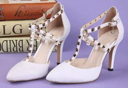 Wholesale Wedding Pearl Sandals - AAAAA Women Classic High Heels Sandals Varnished Calfskin Sheepskin Lining Studded straps Size 35-40 with Box dust bag reciept