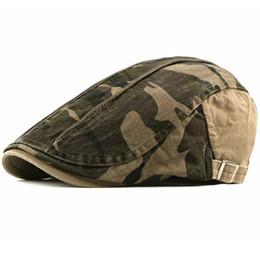 Boinas de algodón hombre online-Gorras para hombres Sombreros masculinos de camuflaje Gorros de algodón para hombres Gorras ajustables Cabbie Conductor Primavera plana Sombreros de otoño