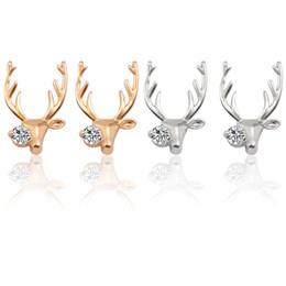 Orecchini Aimal carino per le donne Orecchini Deer strass per le ragazze Cristallo metallo alce Oro argento Alce Ear Natale Natale regalo da elfo di cristallo fornitori