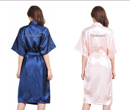 Wholesale Hot Pink Satin Robes - glitter wedding satin robes Bride Bridesmaid maid of honor mother of bride kimonos Bachelorette parties decorations 5pcs lot free shipping