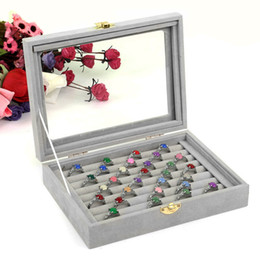 2019 caja de almacenamiento gris 2018 Caja de Joyería de Cristal de Terciopelo Gris Anillos Collares Caja de Exhibición de Almacenamiento Titular de Maquillaje Caja Organizador Aretes de Joyería de Almacenamiento de Joyas caja de almacenamiento gris baratos