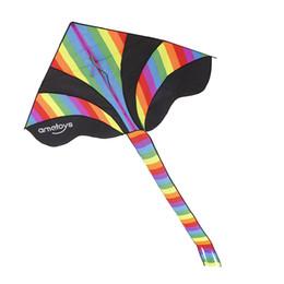 Дети Открытый Fun Fly Радуга Нейлон Воздушных Змеев 50 м Ручка Линии Доска Легко Летающий Кайт Игрушки для Детей Активный Отдых supplier easy kites от Поставщики легкие воздушные змеи