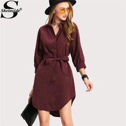 Sheinside Casual Asymmetrical Short Dress Women Burgundy Turn-down Collar 3  4 Sleeve Belted Bow Shirt Dress 2018 Shift Dress Y1891307 21dea2ccd638