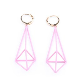 Wholesale United Stereo - Europe and the United States creative geometric earrings personality geometric lantern pyramid stereo hollow triangle earrings earrings fema