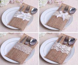Wholesale Rustic Linens - 240pcs lot Vintage Shabby Chic Jute Burlap Lace Wedding Tableware Pouch Cutlery Bag Rustic Wedding Table Decoration